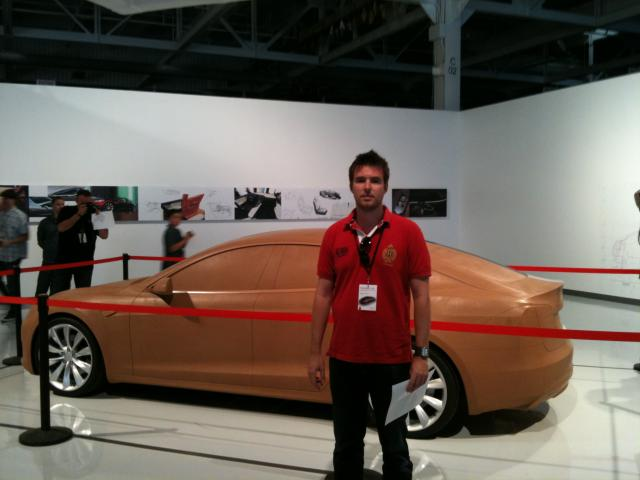 A clay model of the Model S